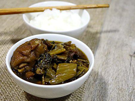 Salted Vegetable, Pork, Meat, Salty, Porridge, Chinese