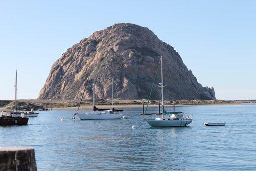 Morro Bay Ca, Morro Rock, Bay, Sailboat, Coast, Rock