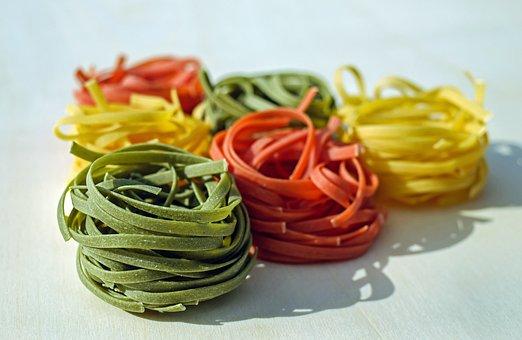 Tagliatelle, Pasta, Noodles, Raw, Colorful, Food