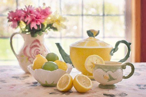 Tea, Lemon, Beverage, Lemonade, Still-life, Tea Pot