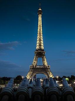 Eiffel Tower, Tower, Metal, Night, Sunset, Lighting