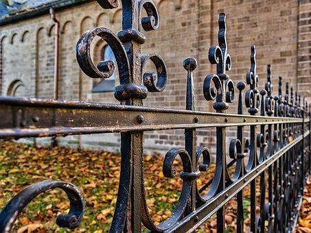 Fence, Wrought Iron, Metal, Verschnörkelt, Iron, Old