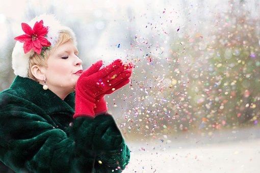 Young Woman, Blowing Glitter, Xmas, Seasonal, Winter