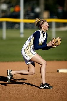 Softball, Action, Female, Player, Short Stop