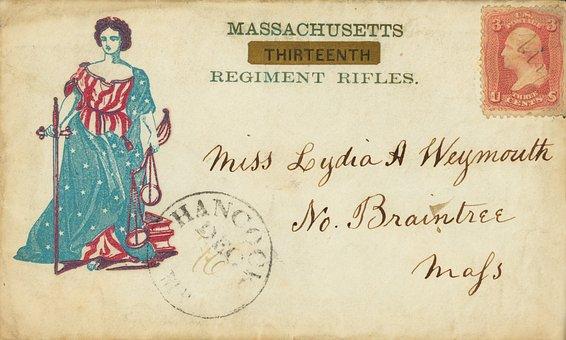American Civil War, Vintage, Envelope, Old, Stained