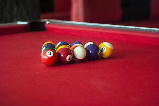 Pool, Pool Table, Game, Ball, Table, Cue, Red Table
