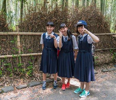 Japan, Arashiyama, Bamboo Forest, Students, Uniforms