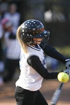 Softball, Batter, Female, Action, Hitting, Bat, Ball