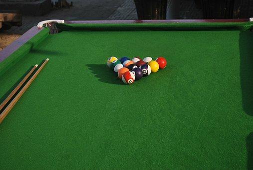 Pool, Table, Billiards, Rack, Balls, Pocket, Cue
