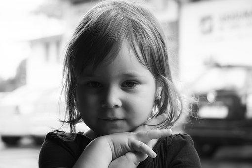 Baby Girl, Model, Innocence, Black And White, Close Up