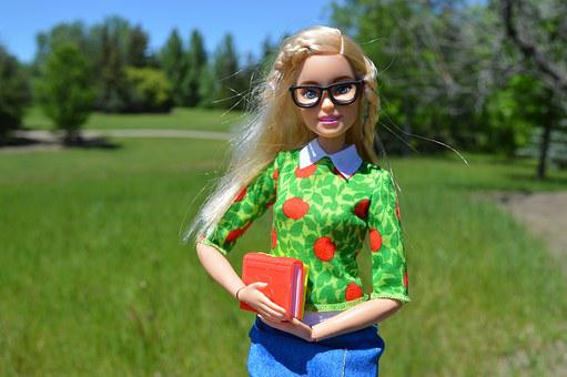 Barbie, Doll, Books, Glasses, Blonde, Student, Female