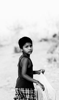 Boy, Indian, Hindu, Cool, Watching, Back, Smart