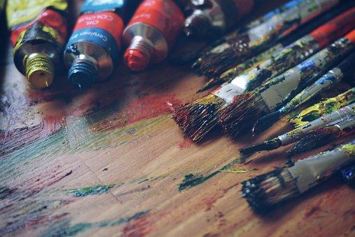 Art, Art Supplies, Artist, Blue, Brush, Color, Creative
