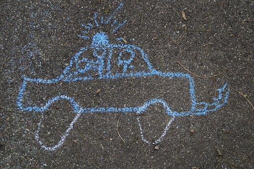 Police, Police Car, Chalk, Street Chalk, Straßenkreide