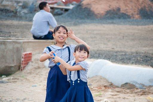 Childhood, Vietnam, Fly A Kite, The Sea, Child