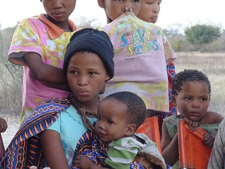 Woman, Children, Africans, Botswana, Southern Africa