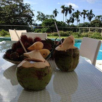 Breakfast, Fruits, Coconuts, Mango, Tropics, Palms