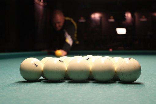 Pool Table, Balls, Cue