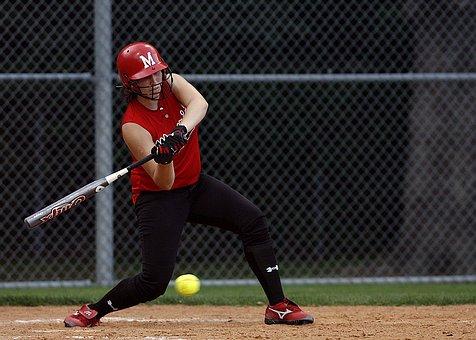 Softball, Batter, Swinging, Female, Player, Game