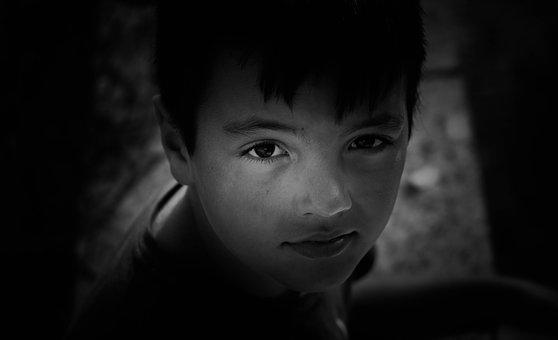 Child, Black And White, Look, Innocence, Portrait