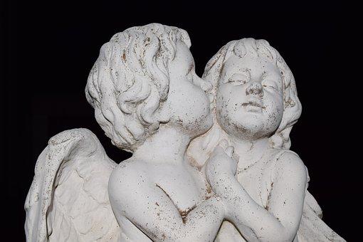 Angel, Kerubin, Fig, Statue, Sculpture, White, Black