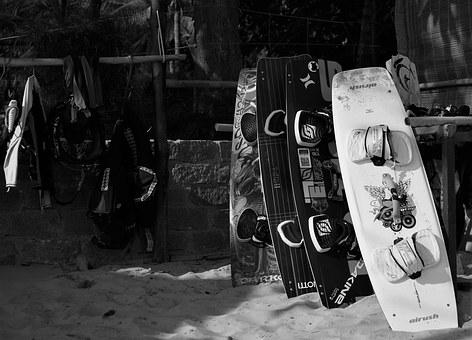 Black And White, Beach, Kite Boards, Kite Surfing