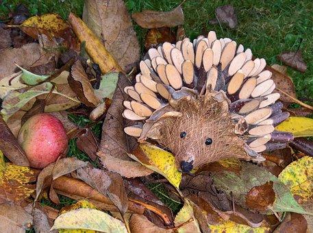 Autumn, Leaves, Hedgehog, Autumn Decoration, Hand Labor