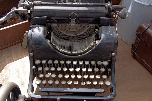 Typewriter, Travel Typewriter, Alphabet, Letters