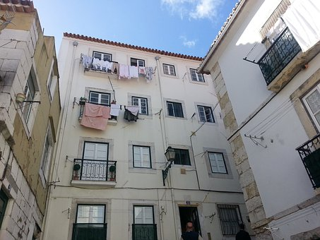 Lisbon, Portugal, Backyard, Old Town, Laundry