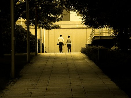 People, Love, Couple, Park, Walk, Holding Hands
