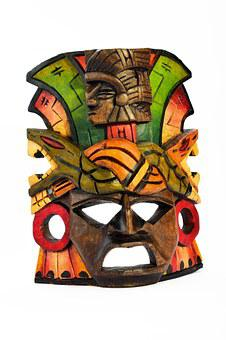 Mask, Wooden, Isolated, Carved, Painted, Souvenir