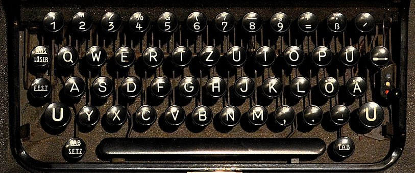 Typewriter, Keyboard, Letters, Mechanically, Leave