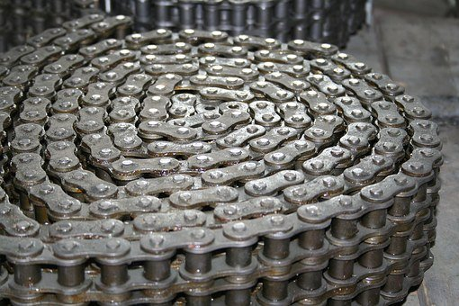 Chain, Drive, Mechanically, Iron Chain, Metal, Close