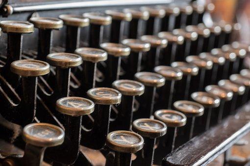 Typewriter, Antique, Old, Leave, Metal, Machine