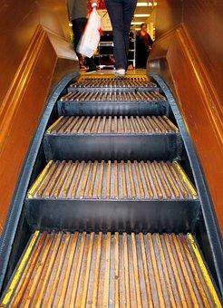 Escalator, Shopping, Wood, Antique, Plastic Bag
