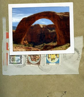 Rainbow Bridge, Lake Powell, Page, Arizona, Usa, Stamps