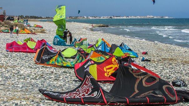 Cyprus, Kiti, Kite, Surf, Sport, Sea, Equipment, Active