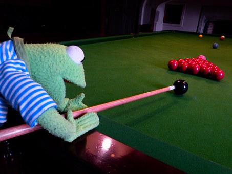 Kermit, Frog, Billiards, Balls, Black, Play, Table
