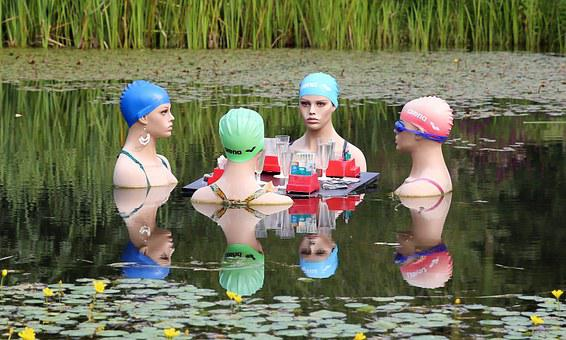 Swimmers, Women, Talk, Gambling, Group, Swim, Swim Cap