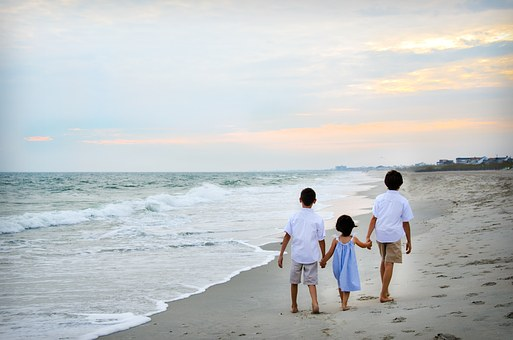 Children, Walking, Holding Hands, Together, Family