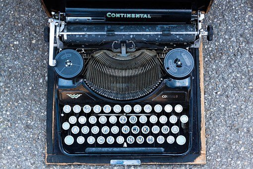 Typewriter, Travel Typewriter, Alphabet, Letters