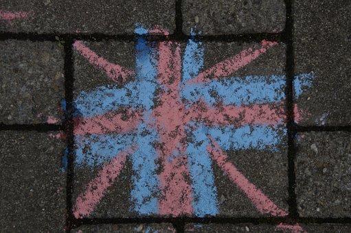 England, United Kingdom, Flag, Straßenkreide, English