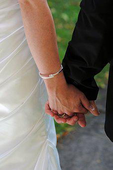 Wedding, Holding Hands, Bride And Groome