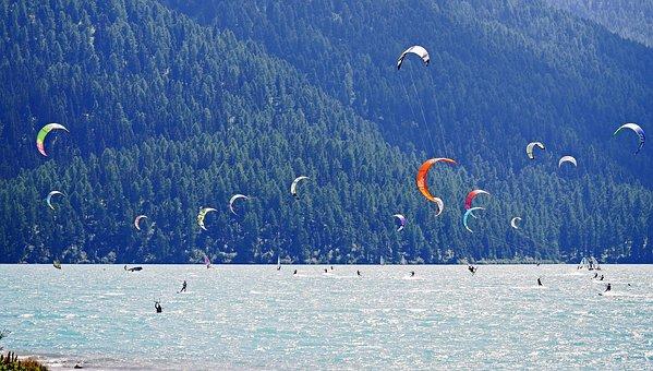 Kite Surfing, Wind Surfing, Silva Planner Lake