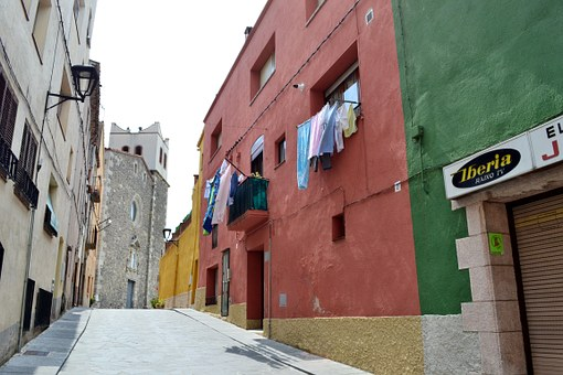 Street, Linen, Colorful Houses, Windows Washing