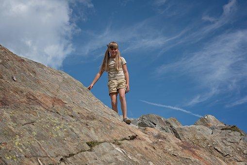 Child, Girl, Climb, Downhill, Down, Descent, Rock