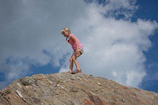 Child, Girl, Rock, Mountain, Mountain Peak, Top