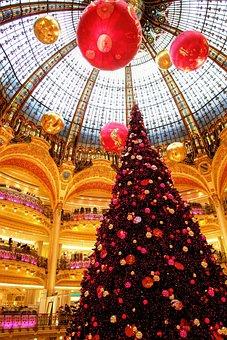 Paris, La Fayette, Department Store, France, Christmas
