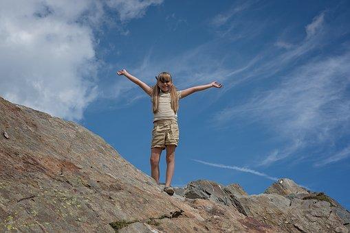 Child, Girl, Mountain, Mountain Peak, Rock, Sky, Clouds