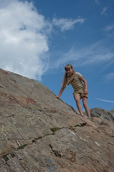 Person, Human, Girl, Child, Climb, Rock, Mountain